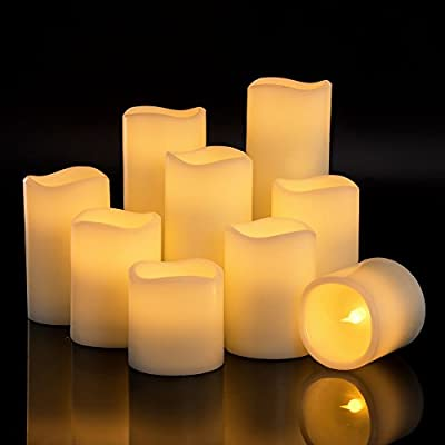 "RY King Battery Operated Flameless Candles 4"" 5"" 6"" 7"" 8"" 9"" Set of 9 Real Wax Pillar LED Flickering Candles with Remote Control and Timer"