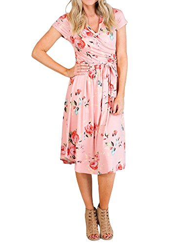Gemijack Womens Bridesmaid Dresses Floral Wrap V Neck Short Sleeve Summer Midi Dress with (Jersey Print Wrap)