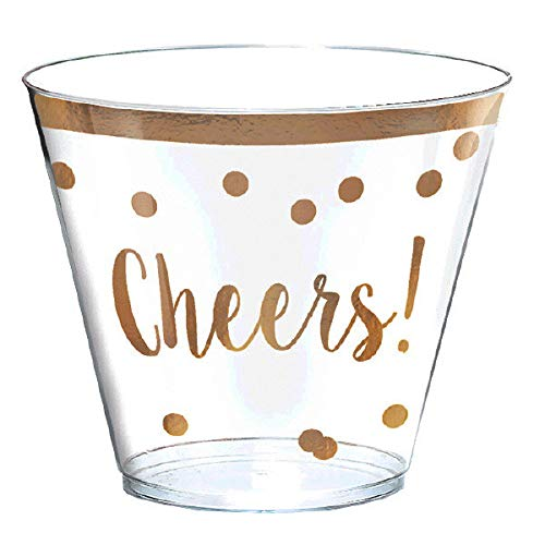 Amscan New Years Eve Printed Cheers Tumblers with Gold Trim - 9 ounces and 30 in a package