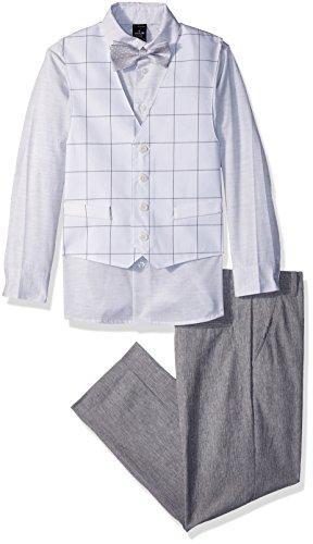 Sean John Boys' Big 4-Piece Dresswear Vest Set, Dover Grey, 8