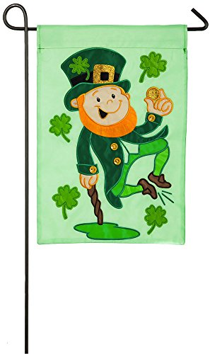 Evergreen Heel Clicking Leprechaun Applique Garden Flag, 12.5 x 18 inches