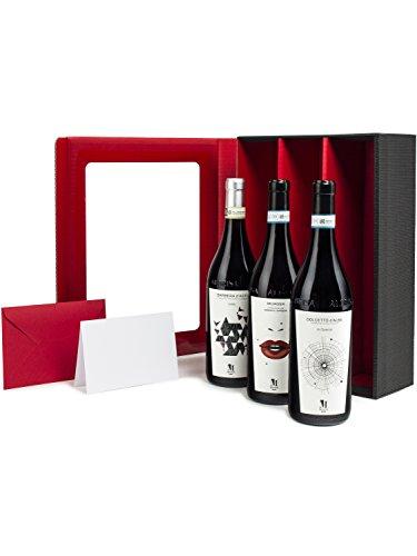 Geschenkset Piemont Weinpaket 3 Rotwein Geschenkset inkl. Geschenkkarte 3 preisgekrönte Rotweine in Geschenkverpackung Wein-Geschenke Geschenk-idee aus Italien Weinpräsent