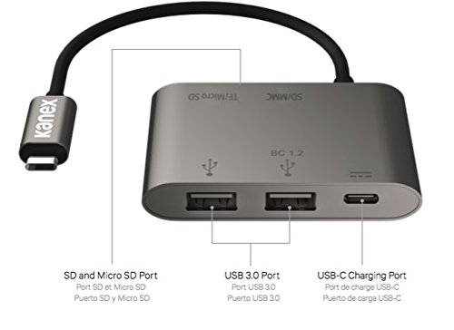 USB-C Card Reader Adapter with SD and Micro SD Port, USB 3.0 Port and Pass-Thru Charging with Power Delivery by Kanex (Image #2)