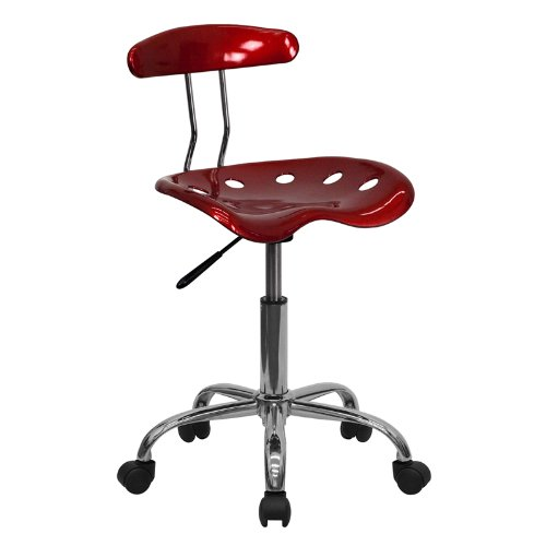 - Flash Furniture Vibrant Wine Red and Chrome Swivel Task Chair with Tractor Seat