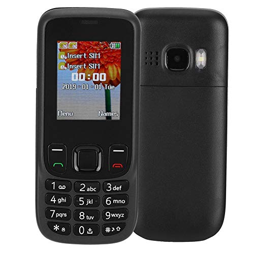 Unlocked Cell Phones with 1.77-inch HD Screen, 2G Network 2 SIM Card Mobile Phone with 0.08MP Camera, Large Button and 32MB + 32MB Memory for Elderly & Kids(Black)