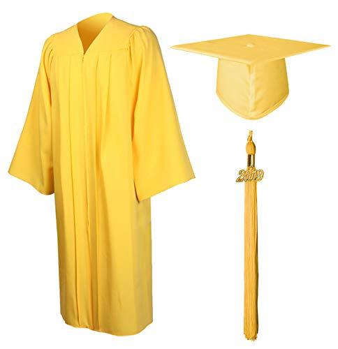 GraduationMall Matte Graduation Gown Cap Tassel Set 2019 for High School and Bachelor Gold - Gold Set High
