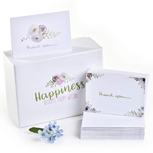 100 Thank You Cards and Self Seal Envelopes - 2 Floral Designs of Thank You Notes - Stationary Set to Give Thanks for Wedding, Bridal Shower, Professional, Any Occasion by Alice & Ben]()