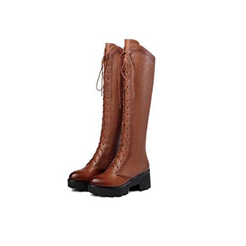 34 Bootie ginocchio alti stivali retrò Pizzo sopra donna coscia 39 grosso BROWN tacchi il brown piattaforma alti q64w7