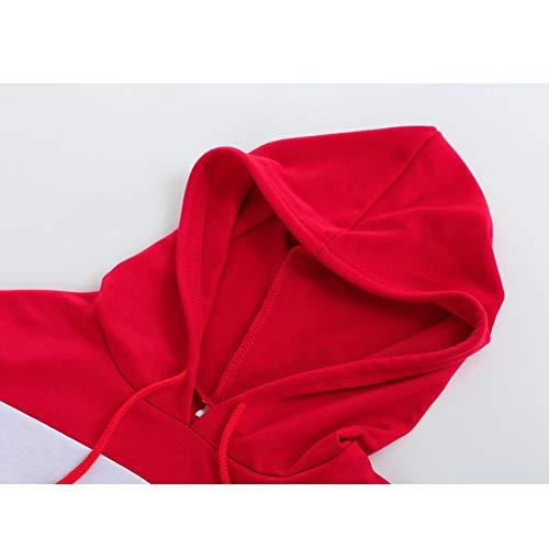 Felpa Rosso Casual Maniche Donna Colour Elegante BaZhaHei con Felpe Donna Felpa 2018 Moda Splicing Ragazza Cappuccio Autunno Lunghe Top Felpa Donna da Top Top Camicetta con Fashion Pullover Tumblr zqww7Wf8nR