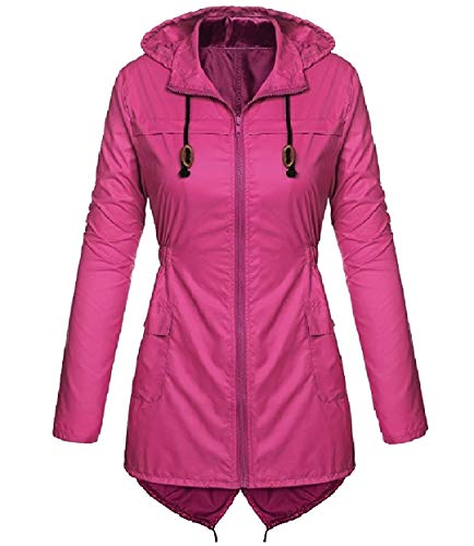 Rain Zipper RkBaoye Hoodie Rose Coats Jacket Womens Red Outdoor Longline Anorak ER1aqtw