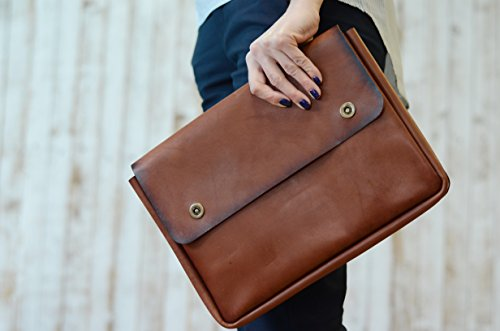 - Genuine Italy Leather Folder, A4 Size Document Holder, Office Paper File case,Leather Folder for Papers and documents, Leather Folio, Portfolio, Business Gift ... (Brown)