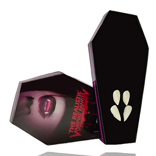 ZTHT Vampire Fangs, Vampire Teeth with Blood & Adhesive Devil Dracula Ghost Fangs for Kid and -