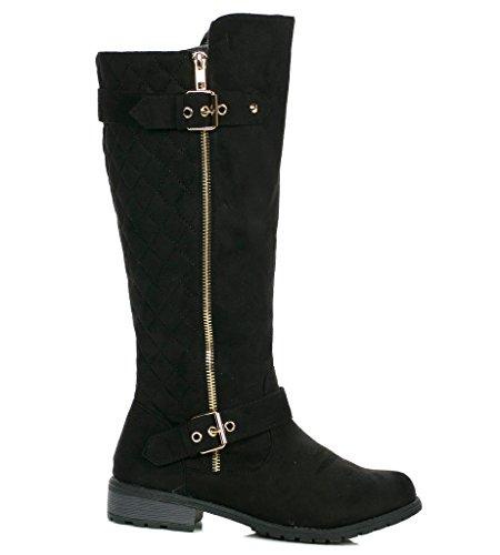 (Forever Mango 21 Women's Winkle Back Shaft Side Zip Knee High Flat Riding Boots 8.5 BM US)