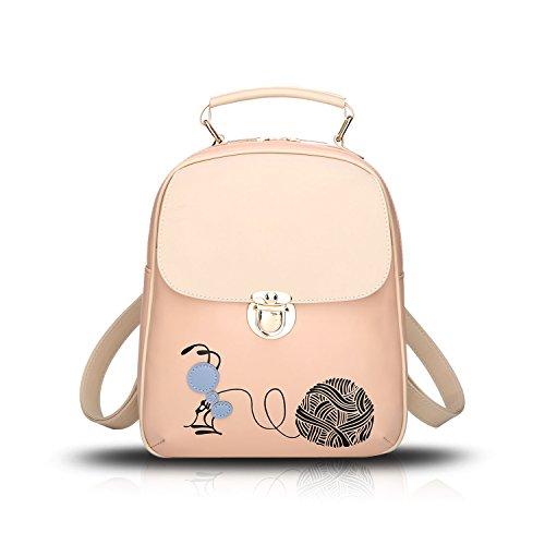 Sunas 2017 nuevo bolso de hombro de las mujeres bolso lindo de la historieta del recorrido del bolso del estudiante Rosa albaricoque