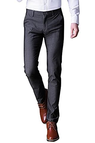 FLY HAWK Mens Business Casual Dress Pants Stretchy Straight Leg Dress Trousers Grey Slacks US Size - Button Fly Suit