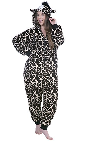 Totally Pink Women's Plus Size Warm and Cozy Plush Adult Onesie/Pajamas/Onesies (Giraffe 2, 1X-2X (Cozy Giraffe)