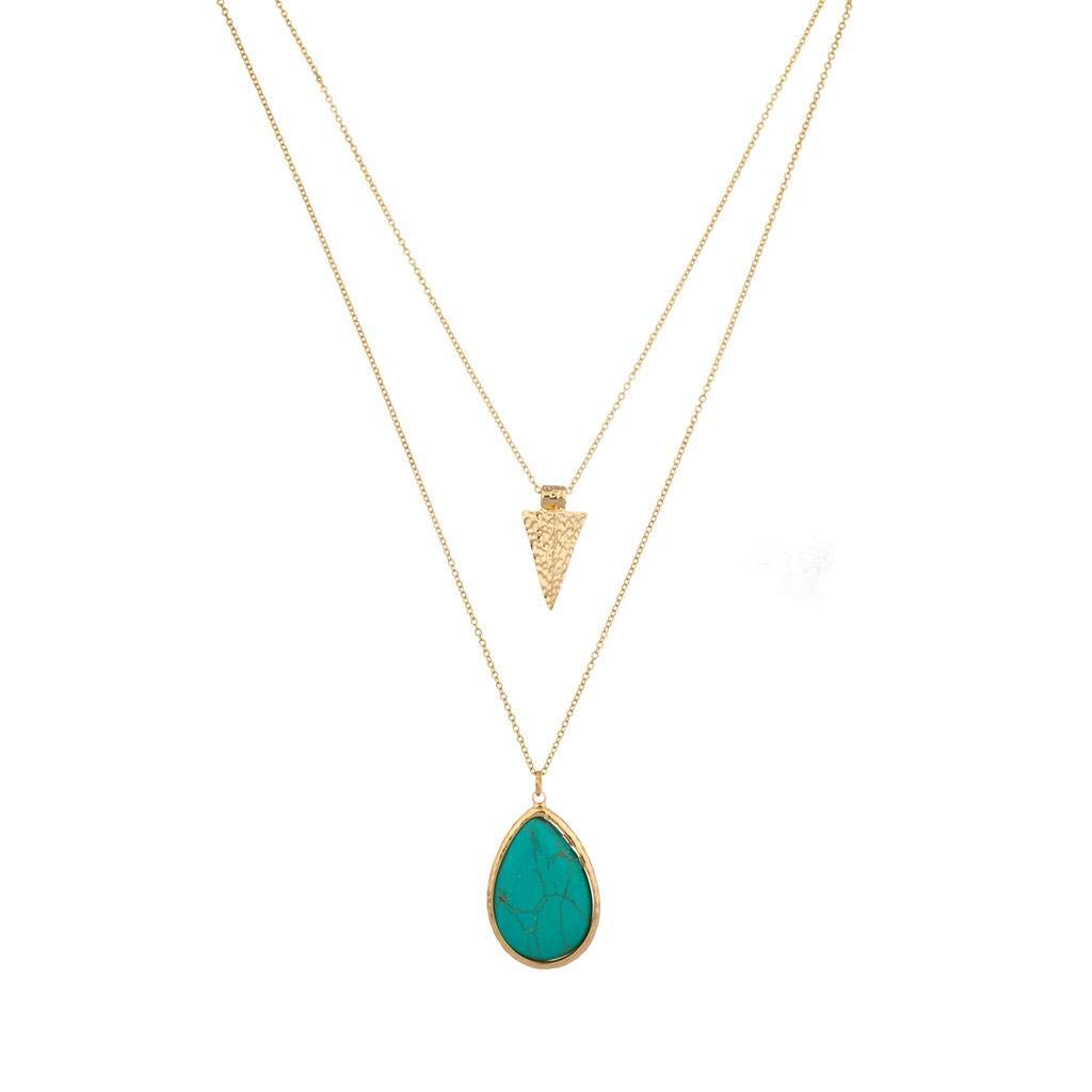 Lux Accessories Gold Tone Turquoise Stone Teardrop Arrowhead Double Layered Necklace Set by Lux Accessories