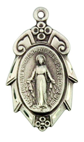 Our Lady Pendant 15/16 Inch Sterling Silver Scroll Border Miraculous Medal ()