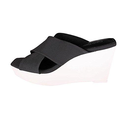 Slide Sandalias de cuña de Calvin Klein Shyna Black/White