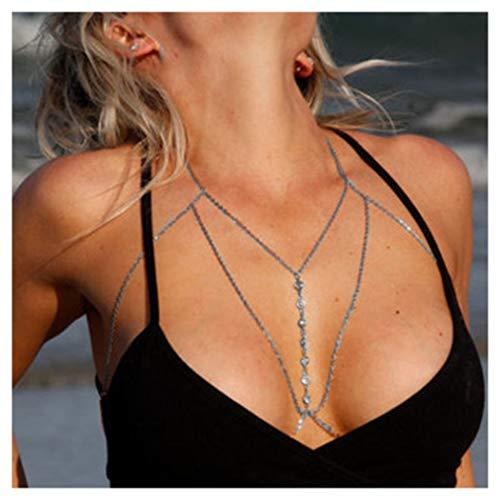 Fstrend Gorgeous Chest Body Chain Necklace Shiny Rhinestone Bikini Beach Body Belly Jewelry for Women and Girls (Silver)
