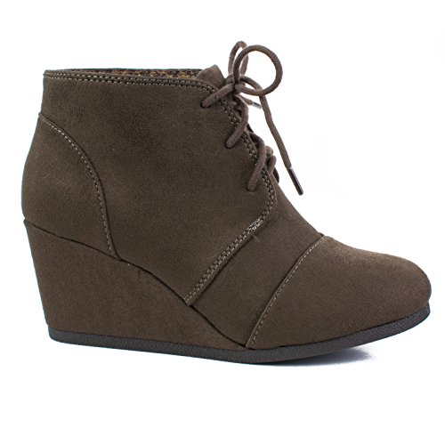 Toe Ankle High Hidden Heel Women's Deep Lace up Shoe Bootie Oxford Taupe Wedge Round EqUwXxBY
