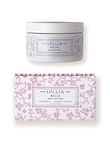 Lollia Relax Whipped Body Butter | Margot Elena's Lavender & Honey Body Cream, 5.5 oz