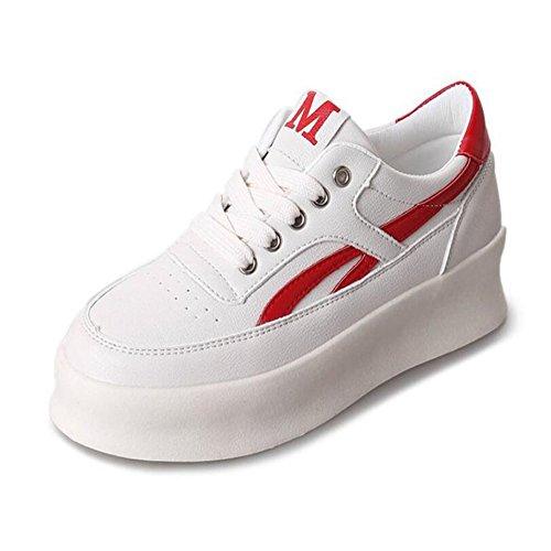 Nuevo Primavera Al Zapatos Rojo de Negro Aire Mujer Mujer Zapatos Libre Planos Plataforma Zapatos de de Comodín Casual GAOLIXIA Rojo Salvaje Zapatos Moda Deportes Azul de IqXYOY