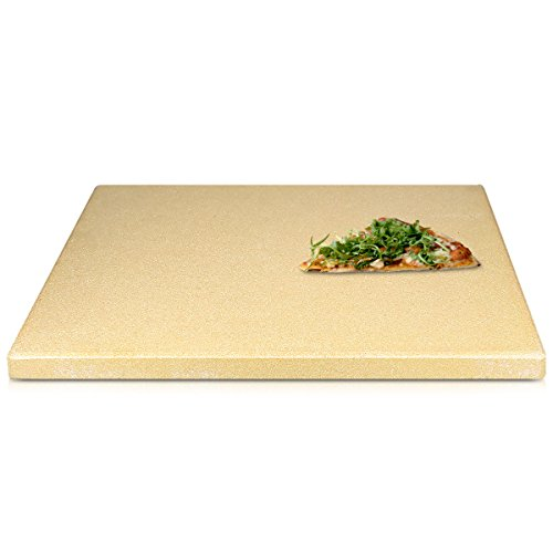 Navaris XL Pizza Stone for Baking - Cordierite Pizza Stone Plate for BBQ Grill Oven - Cook and Serve Pizza Bread Cheese - Rectangular, 38x30x1.5cm