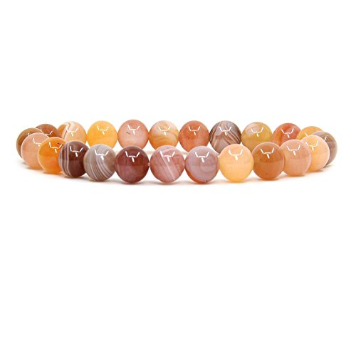 Red Agate Handmade (Natural Red Botswana Agate Handmade Gemstone 8mm Round Beads Elastic Bracelet 7