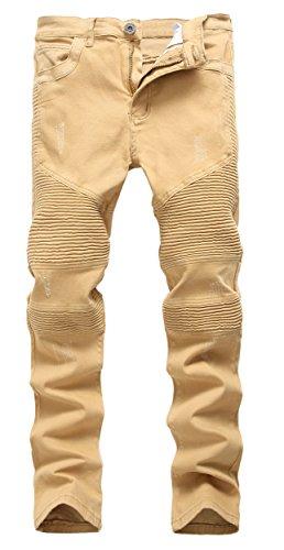 FEESON Men's Straight Leg Slimming Fit Distressed Loose Denim Jeans Khaki -