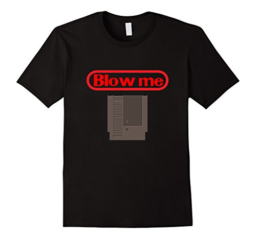 Mens Blow Me Retro Video Game Old school Gamer T-shirt 2XL Black (80s Nerd Costumes)