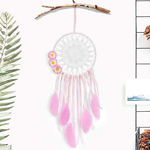 Tree Bud LED Dream Catcher, Handmade Dreamcatcher Feather Indian Wall Hanging Decoration, Ornament for Warm Homes and Kids Room Teepee Tents Décor (Pink-Flower)