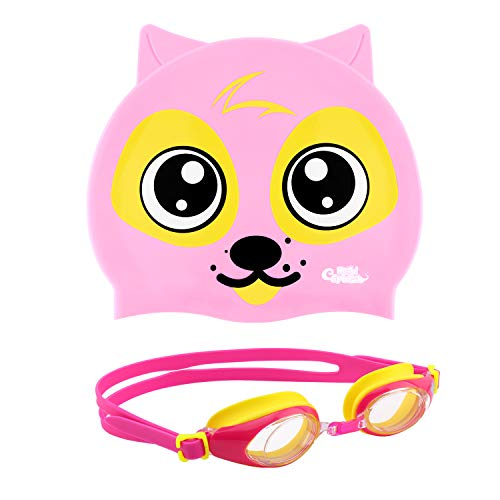 HeySplash Swim Goggles & Cap Set, No Leaking Anti-Fog UV Protection Soft Silicone Frame Eye Friendly Swimming Goggles & Puppy Style Waterproof Swimming Cap Suits for Kids & Boys Girls - Pink