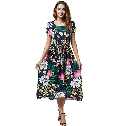 Women Boho Aline Midi Dress Summer Casual Crew Neck Short Sleeve Flowy Pleated Swing Tie Strap Floral Print Beach Dresses (XXX-Large, Navy) ()