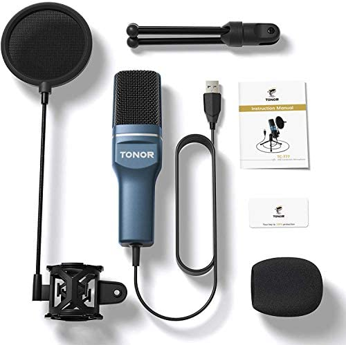 USB Microphone, TONOR Computer Condenser PC Gaming Mic with Tripod Stand & Pop Filter for Streaming, Podcasting, Vocal Recording, Compatible with iMac Laptop Desktop Windows Computer, TC-777