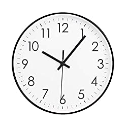 MOD CLOX Modern Wall Clock Non-Ticking Sweep Movement Battery Operated Clocks Decorative Living Room/Bedroom/Office/Kitchen 10 Inch White