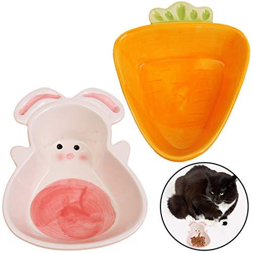Legendog 2 UNIDS Cat Bowl Lindo Zanahoria Conejo Forma Cerámica Perro Comida Bowl Pet Water Bowl