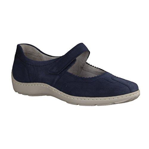 Mujer Bailarina Zapatos De 496302 Cuero Waldläufer Pro denver Altura Mm Cómodo Relleno Tacón Azul 20 206 Henni Cómodos Activo Suelto Mocasines q4XPxSzwX