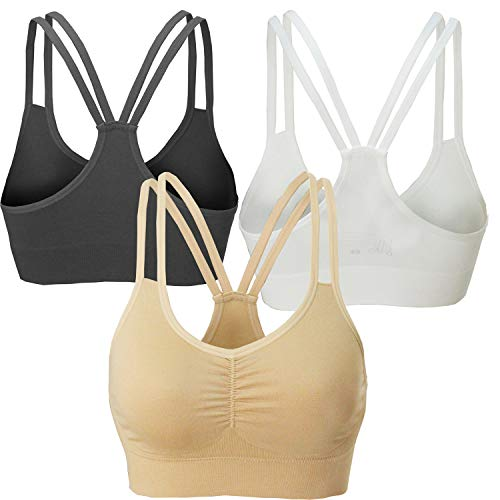 AKAMC Women's Removable Padded Sports Bras Medium Support Workout Yoga Bra 3 Pack Style-KD05,Medium