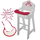Wooden Doll High Chair with Doll Bib Fits 18'