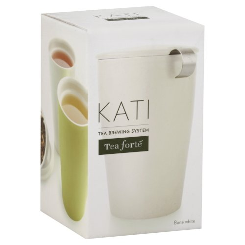 Tea Forte KATI Single Cup Loose Leaf Tea Brewing System, Insulated Ceramic Mug with Tea Infuser and Lid, Classic White