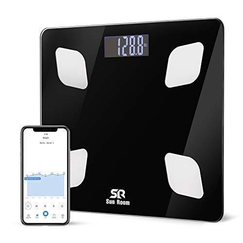 Bluetooth Body Fat Scale- Wireless Digital Bathroom Weight Scale- SR SunRoom Smart BMI Scale with 12 Essential Measurements and FDA Approved Body Composition Analyzer, Smartphone App