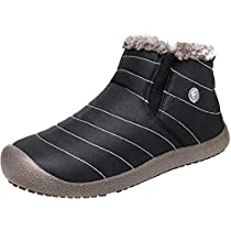 JIASUQI Mens Winter Snow Boots Womens Waterproof Outdoor Non-Slip Flat Ankle Booties with Warm Fur Lining