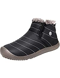 JIASUQI Men's Winter Snow Boots Women's Waterproof Outdoor Non-Slip Flat Ankle Booties Warm Fur Lining