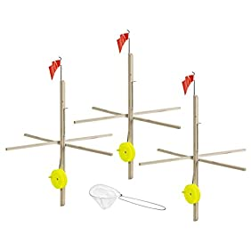 Celsius Ice Fishing ITU-3/KIT Wood Tip-Up with Line & Net/3 Pack