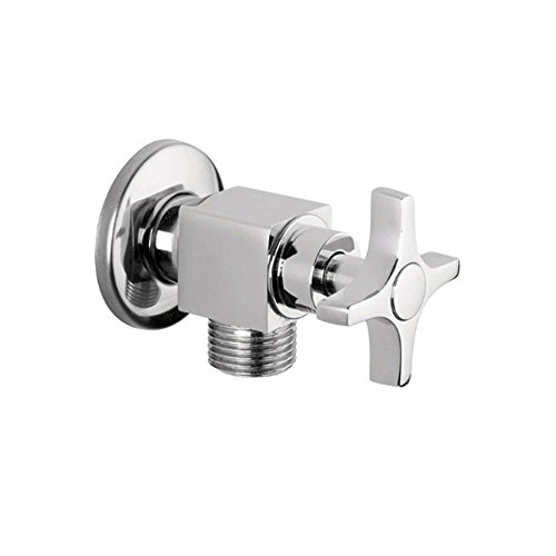 Weirun Bathroom and Kitchen Solid Brass Cross Handle Quarter Turn Shut Off Faucet Angle Valve,Chrome ()