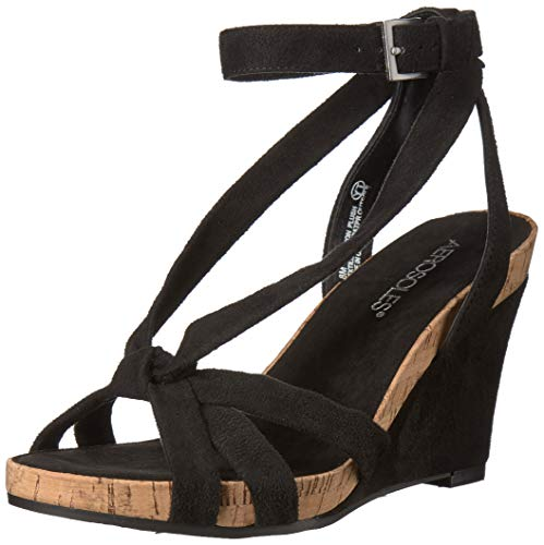 Aerosoles - Women's Fashion Plush Wedge Sandal - Open Toe Strap Platform Heel Shoe with Memory Foam Footbed (8.5M - Black Fabric)