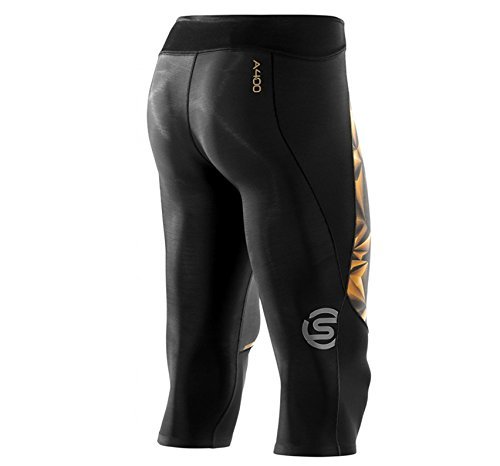 Skins Men's A400 Compression 3/4 Tights, Black/Gold, Small by Skins (Image #7)