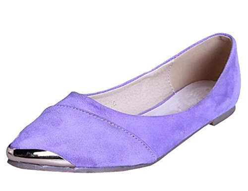 WSKEISP Toe Flats Metal Boats Pointed Bowknot Purple Women's Decoration Shoes rwxqPX1rT