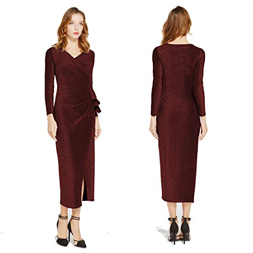 Aiyou Women\'s Long Sleeve Wrap Dresses - Sexy Glitter Ruched V Neck High Slit Maxi Dress Small Wine Red
